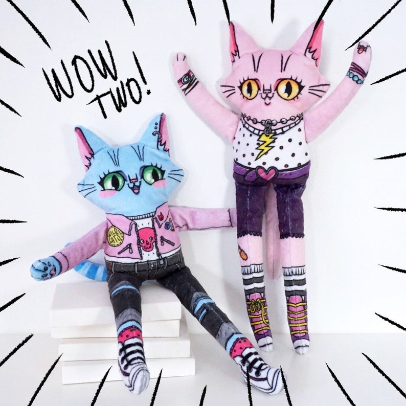 Two Special Friends  Set of two cat dolls at a reduced price image 0