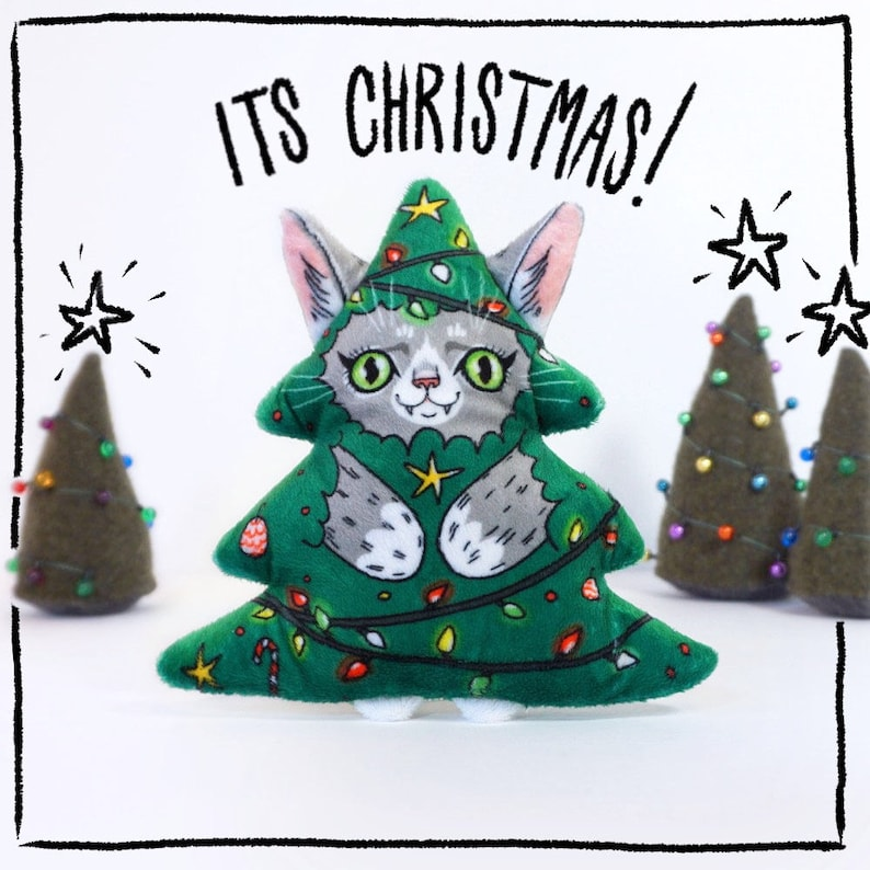 Its Christmas Cat   Super soft plush cat toy  grey cat image 0