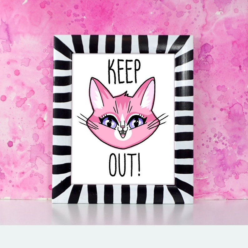 KEEP OUT  Pink cat face printed art for kid's room or image 0