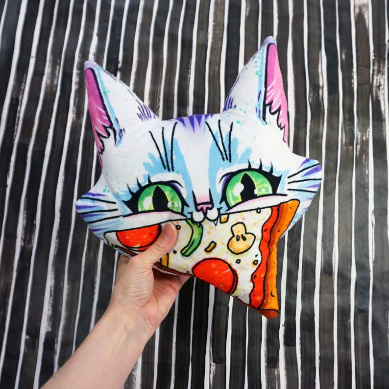 Big Cat Face with Pizza Pillow  Decor for kids room  image 0