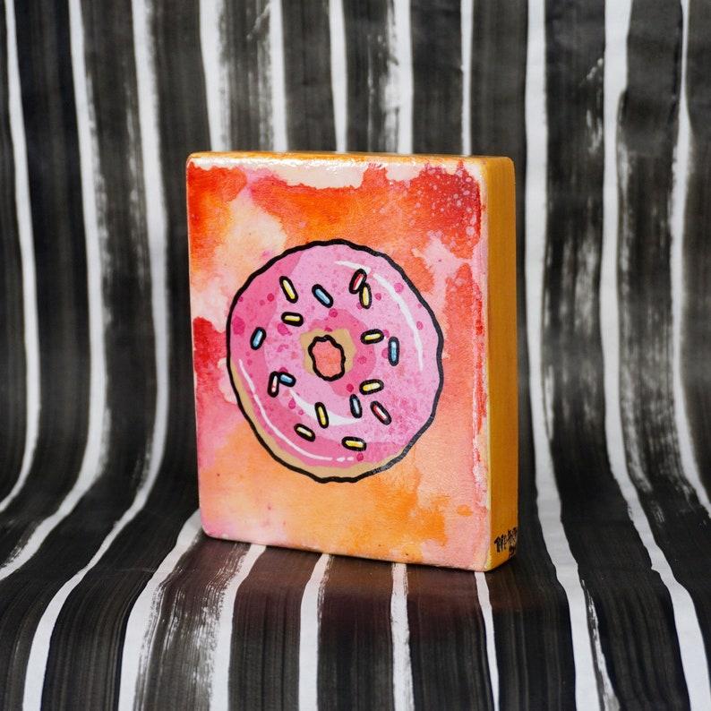 Yum Donut  Original Painting on wood block  ready to hang image 0