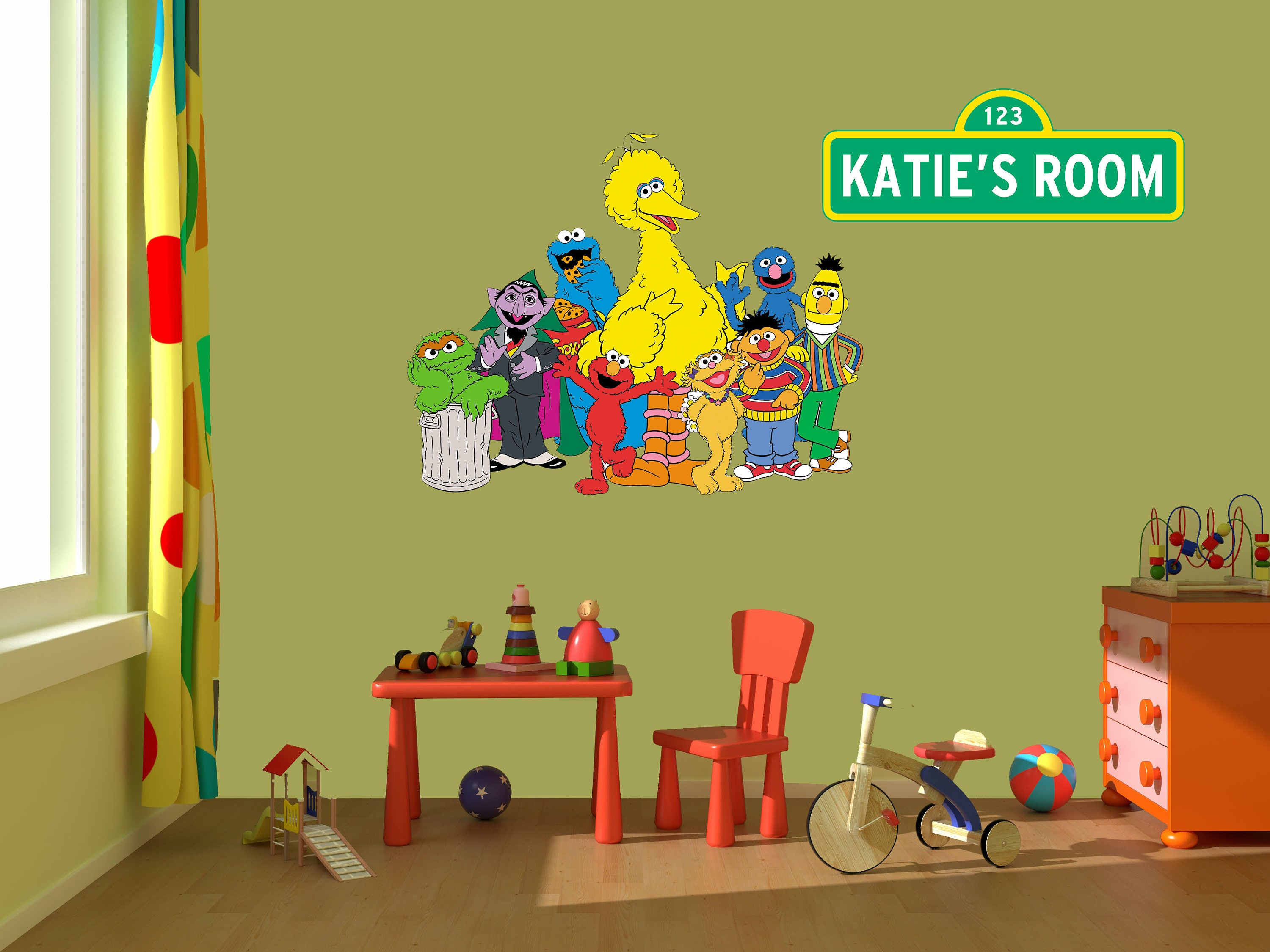 Sesame Street Wall Decal Stickers Bedroom Wall Murals Sesame | Etsy