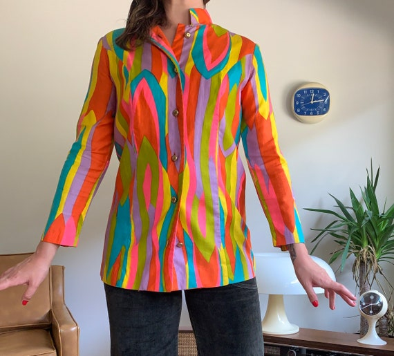 Vintage 60's neon psychedelic feather print Nehru… - image 1