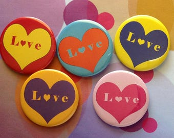 Colorful Love Buttons, Complete Set, 2.25 pinback