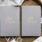 Calligraphy Vow Books, Personalized Wedding Vow Booklets // Customizable - Grey/Gray (Set of 2)