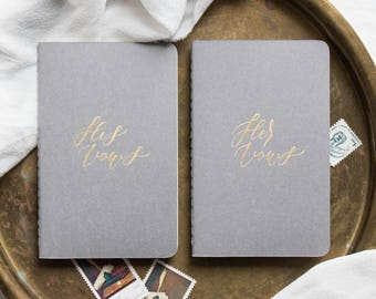 Calligraphy Vow Books, Gray (Set of 2)