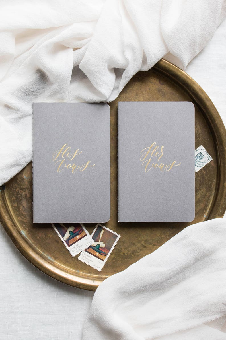 Calligraphy Vow Books Personalized Wedding Vow Booklets // image 0