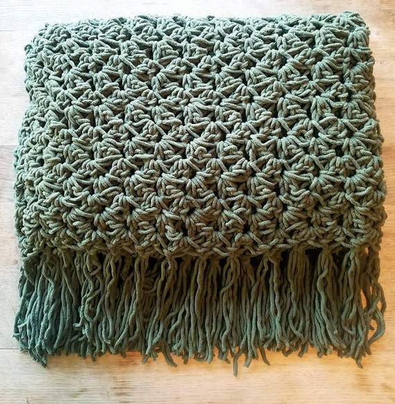 Crochet Olive Green Throw Blanket Etsy Fascinating Olive Green Throw Blanket