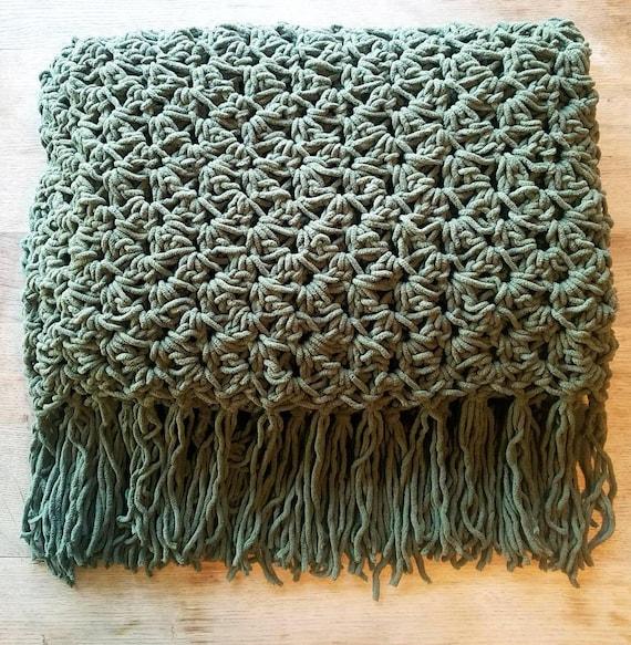 Crochet Olive Green Throw Blanket Etsy Fascinating Olive Green Throw Blanket
