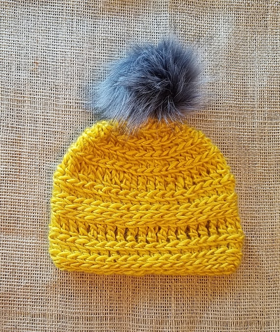 Crochet mustard color toddler beanie with gray faux fur pompom  c0a27d4821c5