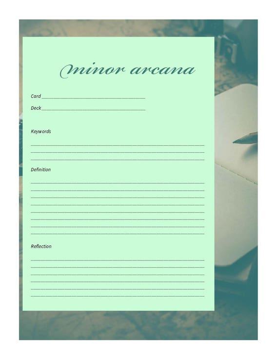 printable tarot card journal template