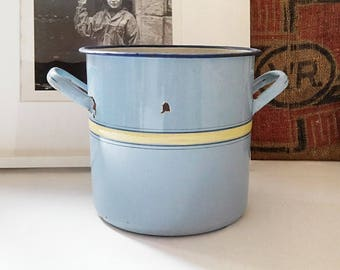 Blue and yellow enamel casserole. France 1940