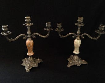Pair of old candelabra/candlestick/candle holder in brass and onyx with 3 branches. Vintage
