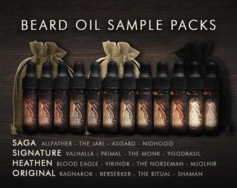 Beard Oil Gift For Men | Viking Beard Oil Sample Packs - Promotes a healthy beard | Christmas For Him - Birthday Gifts for Men