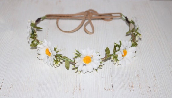 Daisy Halo Flower Crown Spring Boho Wedding Etsy