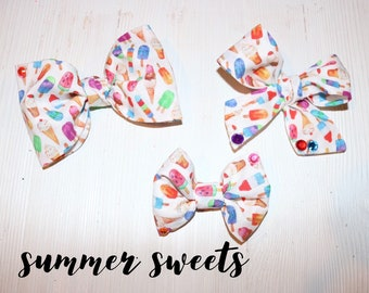 Summer sweets- popsicle - ice cream - bows- headbands - clips- sundae