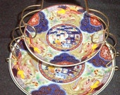 Imari ware 2-tier plates with metal holder rack (Japan)