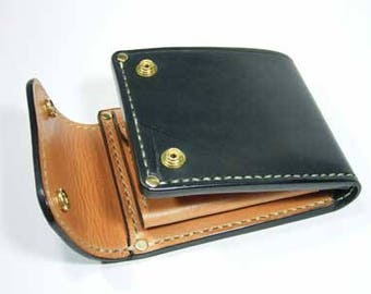 Leather wallet with purse pattern