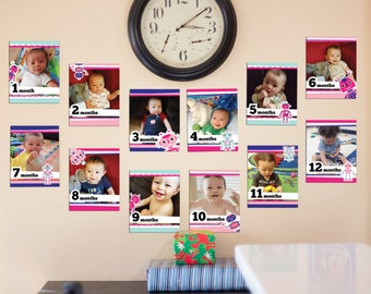 Pink Robot First Birthday Party Picture Cards DIGITAL Download - 12 Frames for Child's Monthly Photos