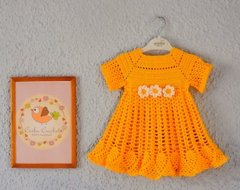 Daisy Yellow crochet dress