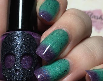 THERMAL Galaxy-Galactic Line by Necessary Evil. Scattered Holo, Purple, Blue, to Turquoise Thermal Indie Polish 15mL