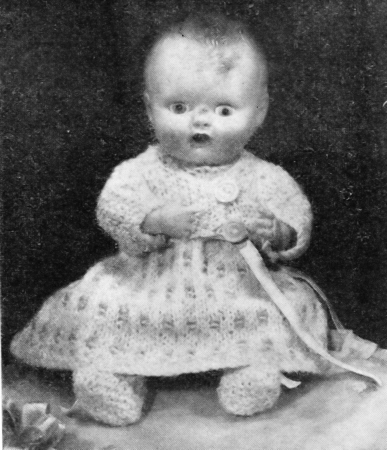 PDF Vintage Tiny Doll knitting 6 12 inch 16.5cm Collection 2 and 4-ply fingering 6 patterns lovely outfits Berenguer Rosebud baby doll #83