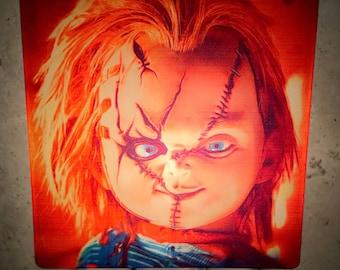 Chucky Night Light Retro 80s 90s Horror Home Decor Accent Gift Childs Play Good Guy Doll Scary Movie Art Plug Kids Nightlight Creepy Cute