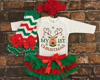 548e8ad1c baby's first Christmas outfit, 1st christmas outfit, first christmas outfit  girl, personalized my first christmas outfit