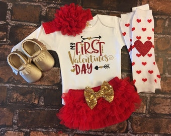 bc1b413e6d33 My First Valentines baby girl outfit, Baby Girl 1st Valentines Day Outfit, Girl  Valentine, Personalized, Valentines Day Outfit