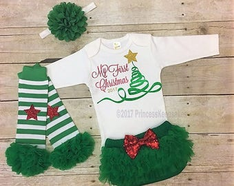 Christmas Tree Outfit, Girls Christmas Outfit, My First Christmas Outfit, baby girl clothes, my 1st Christmas shirt, baby shower gift