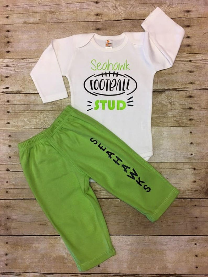 new concept 529ab 8e083 Seattle Seahawks, Seahawks baby boy outfit, Seahawk Bodysuit, Infant Boy  Seahawks outfit, football outfit, tailgate party, baby shower gift