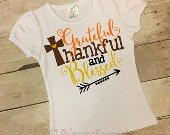 Girls Thanksgiving Shirt, Girls Fall Shirt, Girls Turkey Day, Grateful and Blessed, Thanksgiving Shirt, baby Girl Thanksgiving Outfit
