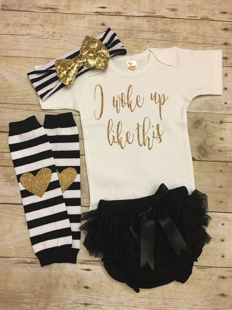 Baby Girl Clothes Glitter Bodysuit Mommy/'s Girl Leg Warmer Set Baby Shower Gift I woke up like this Outfit New Baby Gift
