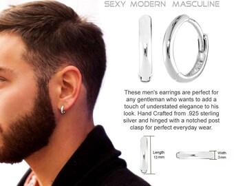 Mens Earrings Hoop REAL Sterling SILVER f89d16fa6684