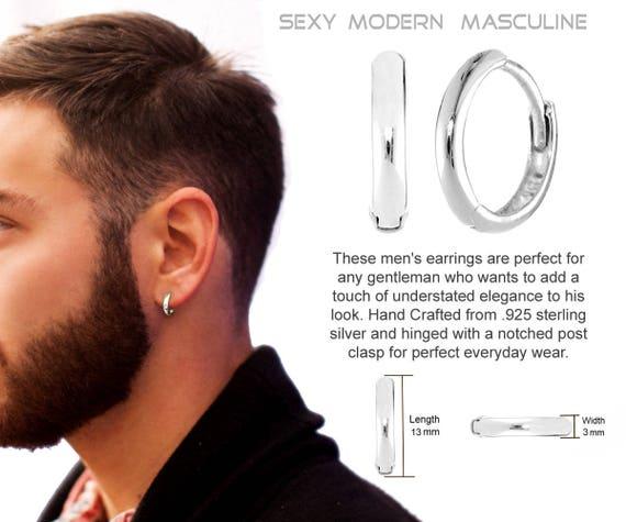 Mens Earrings Hoop REAL Sterling SILVER | Etsy