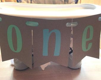 First Birthday - ONE high chair Banner Gray Blue Teal - 1st Birthday Boy
