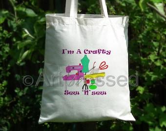 Crafty Sew 'n' Sew - NoveltyTote Bag /Funny/Cotton/Shopping/Craft/Gift/Birthday
