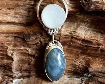 Labradorite and crystal druzy pendant