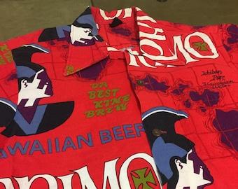 9e9d1d778 1960s 70s Hawaii Primo Beer Hawaiian Vintage Shirt / Hawaiian Holidays  Sports Wear