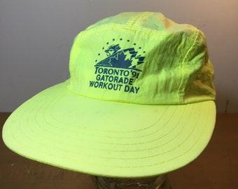 fa9b97bdd23 1991 90s MLB Toronto Blue Jays Gatorade Workout Day Neon Vintage Hat
