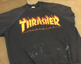 2daaa96e48ce 90s Thrasher Magazine Skateboarding Vintage Sweatshirt - Thrashed and Beat  to Hell   Chopped