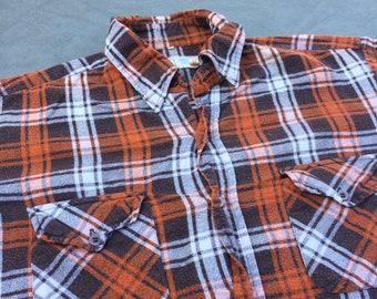 d0dd02145cdb Champion Plaid Flannel Brown Button Up Vintage Shirt