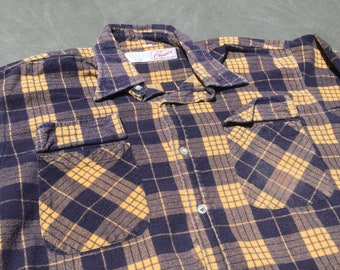bb149ea4 80s Champion Yellow Flannel Button Up Vintage Shirt