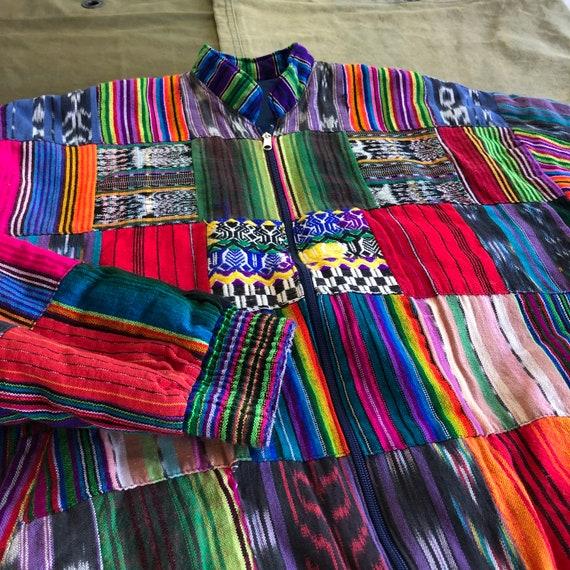 Neon Bold Patchwork Quilt Zip Up Vintage Jacket