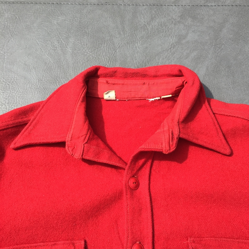 70s Red Wool Heavy Flannel Jacket Vintage Button Down