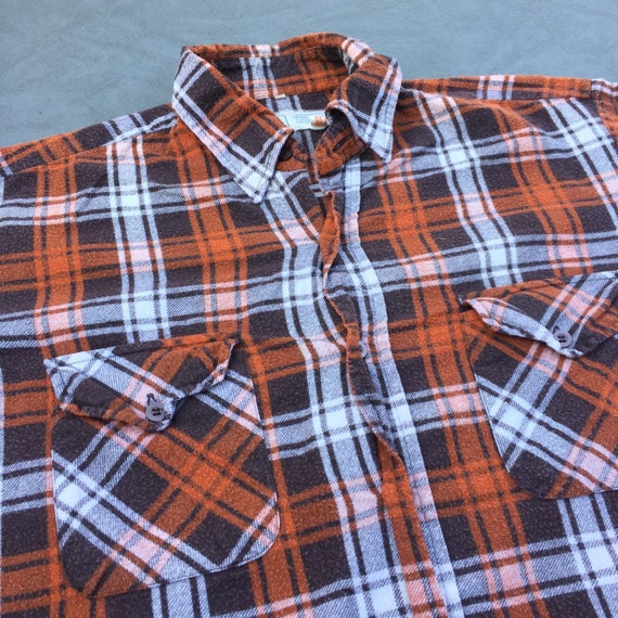 Champion Plaid Flannel Brown Button Up Vintage Shi