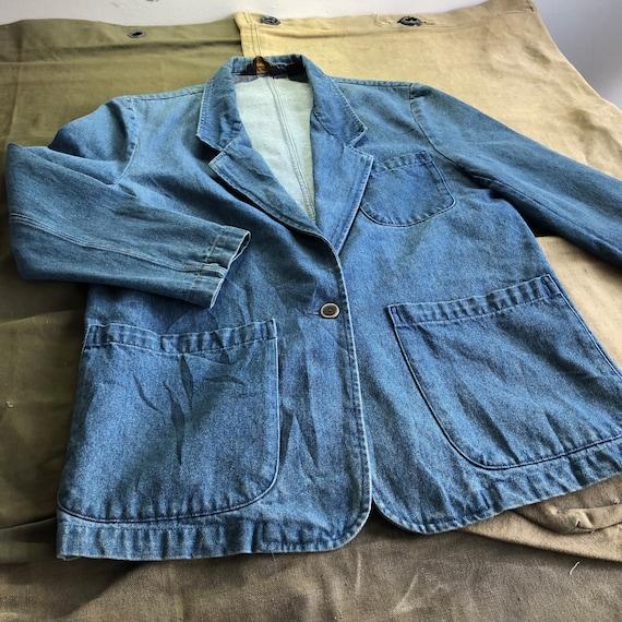 90s Eddie Bauer Chore Coat 3-Pocket Denim Button U
