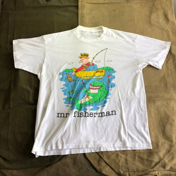 90s Mr Fisherman Comic Humour Funny White Vintage