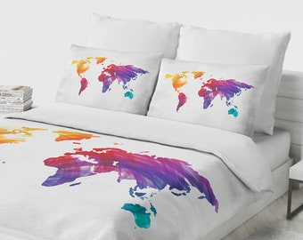 World map bedding etsy gumiabroncs Image collections