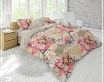 shabby chic bedding set retro duvet cover set watercolor paris bedding with pillow cases luxury bedding twin full queen king - Paris Bedding
